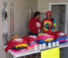 Shlley and Jo-Anne selling Apex sweatshirts